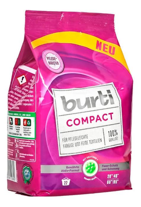 Купить Стиральный порошок-концентрат для цветного и тонкого белья Compact: Порошок 1100г, Burti