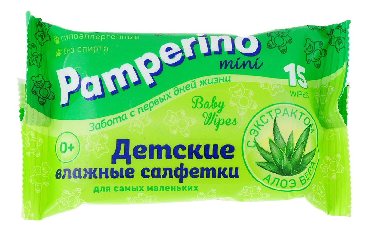 Купить Детские влажные салфетки с экстрактом алоэ вера Baby Wipes With Aloe Vera: Салфетки 15шт, Pamperino