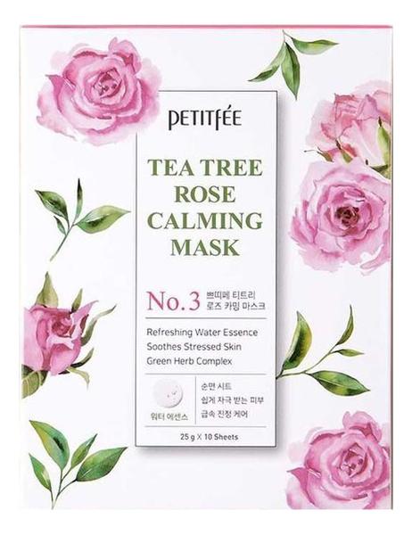 Успокаивающая тканевая маска для лица с экстрактом чайного дерева и розы Tea Tree Rose Calming Mask 25г: Маска 1шт