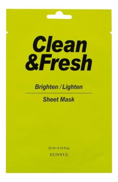 Купить Тканевая маска для здорового цвета лица Clean & Fresh Brighten Lighten Sheet Mask 22мл: Маска 3шт, Тканевая маска для здорового цвета лица Clean & Fresh Brighten Lighten Sheet Mask 22мл, EUNYUL