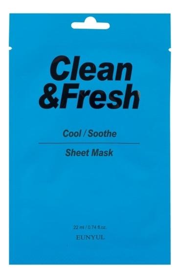 Купить Тканевая маска для лица очищающего и увлажняющего эффекта Clean & Fresh Cool Soothe Sheet Mask 22мл: Маска 3шт, Тканевая маска для лица очищающего и увлажняющего эффекта Clean & Fresh Cool Soothe Sheet Mask 22мл, EUNYUL