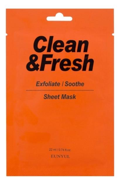 Купить Тканевая маска для гладкости и регенерации кожи лица Clean & Fresh Exfoliate-Soothe Sheet Mask 22мл: Маска 3шт, Тканевая маска для гладкости и регенерации кожи лица Clean & Fresh Exfoliate-Soothe Sheet Mask 22мл, EUNYUL