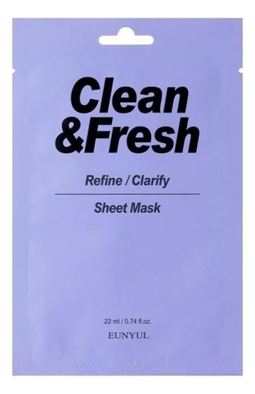 Купить Тканевая маска для выравнивания тона и рельефа лица Clean & Fresh Refine-Clarify Sheet Mask 22мл: Маска 3шт, Тканевая маска для выравнивания тона и рельефа лица Clean & Fresh Refine-Clarify Sheet Mask 22мл, EUNYUL