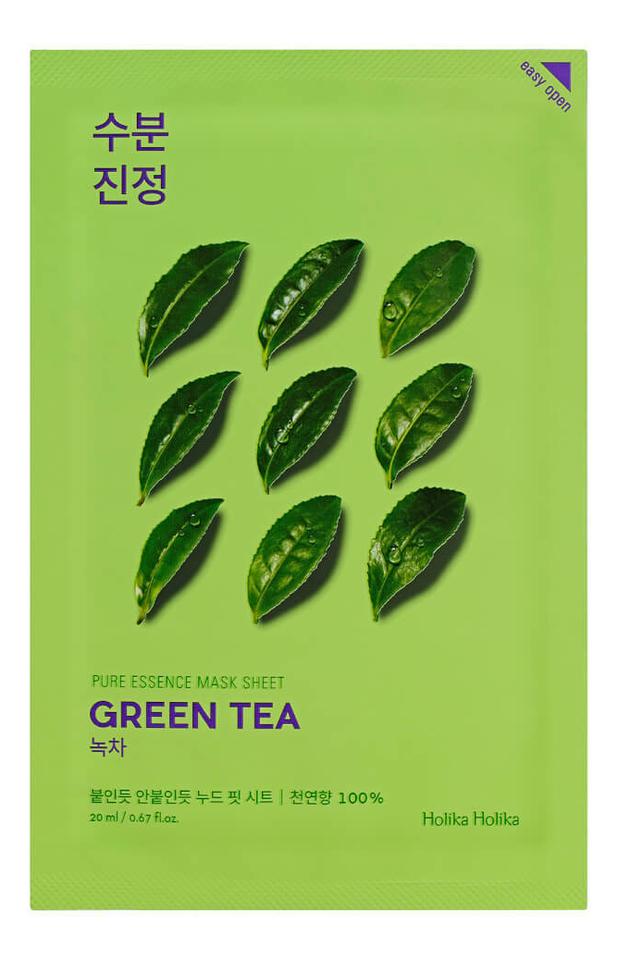 Купить Противовоспалительная тканевая маска для лица с экстрактом зеленого чая Pure Essence Mask Sheet Green Tea 20мл: Маска 1шт, Противовоспалительная тканевая маска с экстрактом зеленого чая Pure Essence Mask Sheet Green Tea 20мл, Holika Holika