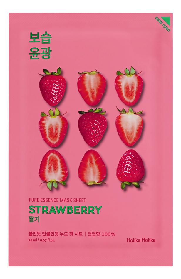 Купить Освежающая тканевая маска для лица с экстрактом клубники Pure Essence Mask Sheet Strawberry 20мл: Маска 1шт, Holika Holika