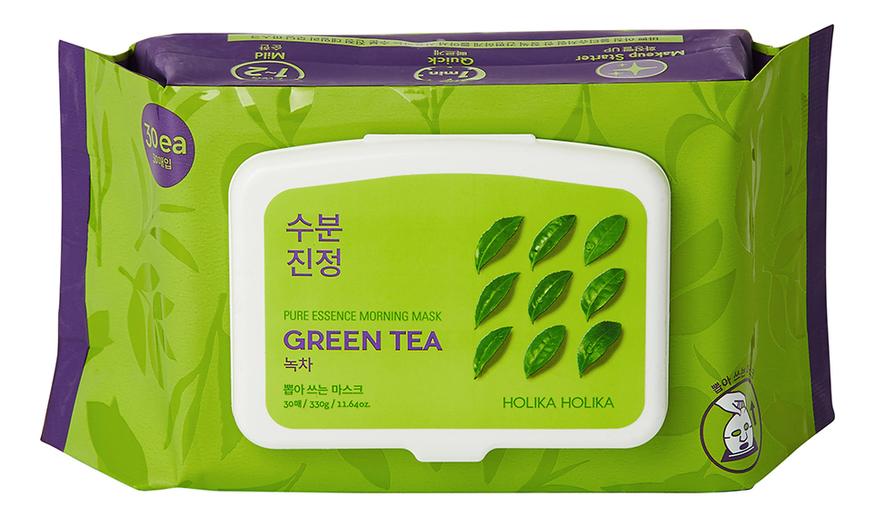 Купить Увлажняющая экспресс-маска для лица с экстрактом зеленого чая Pure Essence Morning Mask Green Tea 30шт, Holika Holika