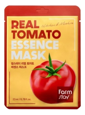 тканевая маска для лица с экстрактом томата facial sheet mask tomato revitalizing 25мл Тканевая маска для лица с экстрактом томата Real Tomato Essence Mask 23мл: Маска 1шт
