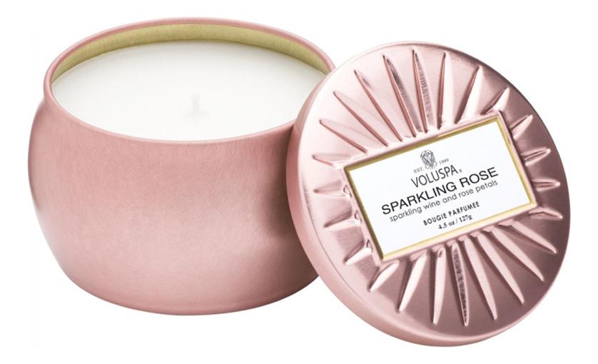 Фото - Ароматическая свеча Sparkling Rose (Игристое розе): свеча в декоративной банке 128г ароматическая свеча игристое вино свеча 70г