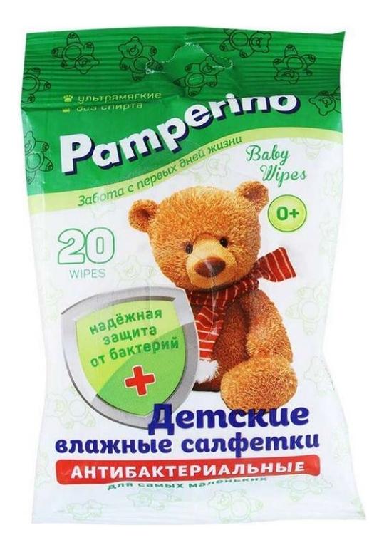 Купить Детские влажные антибактериальные салфетки Baby Wipes: Салфетки 20шт, Pamperino