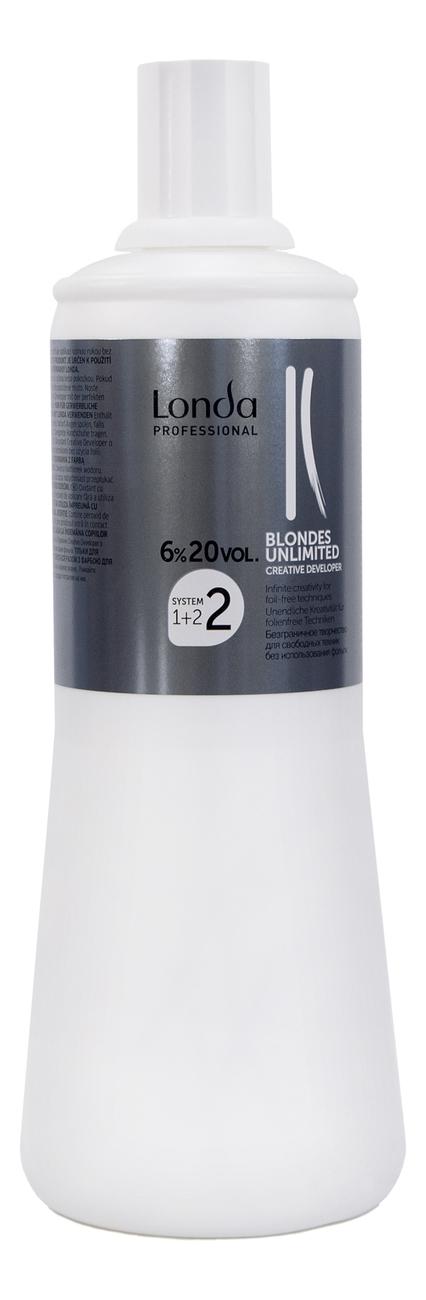 Окислительная эмульсия для волос Blondes Unlimited 6%: Эмульсия 1000мл londa окислитель для краски для волос blondes unlimited 1 л 6 9 12% 1 л 12%