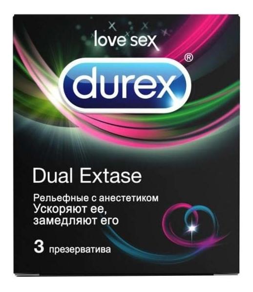 Купить Презервативы рельефные с анестетиком Dual Extase: Презервативы 3шт, Durex