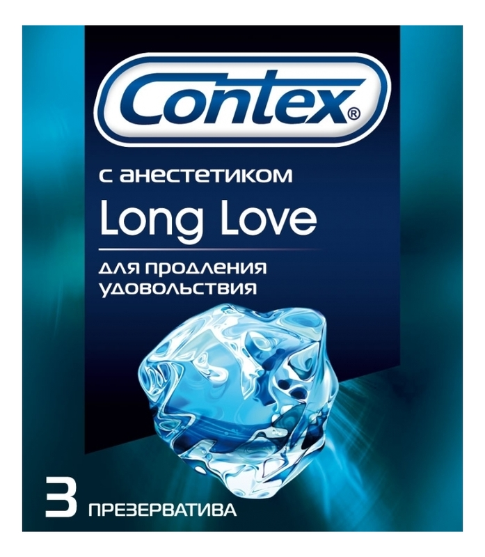 Купить Презервативы с анестетиком Long love: Презервативы 3шт, Contex