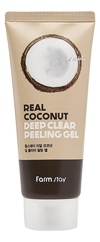 Купить Пилинг-гель для лица с экстрактом кокоса Real Coconut Deep Clear Peeling Gel 100мл, Farm Stay