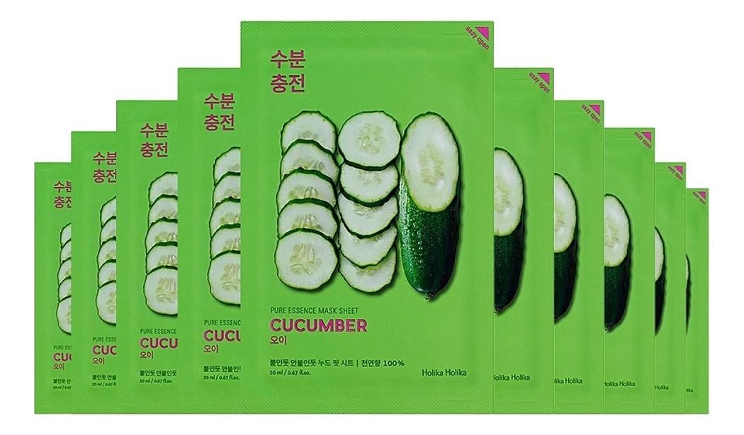 Успокаивающая тканевая маска для лица с экстрактом огурца Pure Essence Mask Sheet Cucumber 20мл: Маска 5шт недорого
