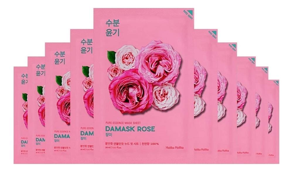 Купить Увлажняющая тканевая маска для лица с экстрактом розы Pure Essence Mask Sheet Damask Rose 20мл: Маска 5шт, Holika Holika