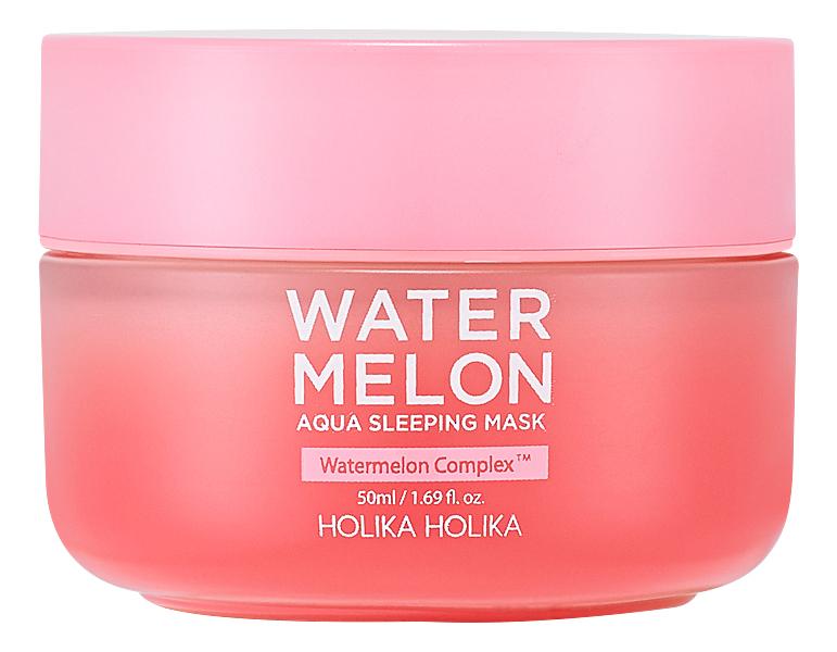 Купить Увлажняющая ночная маска с экстрактом арбуза Water Melon Aqua Sleeping Mask 50мл, Holika Holika