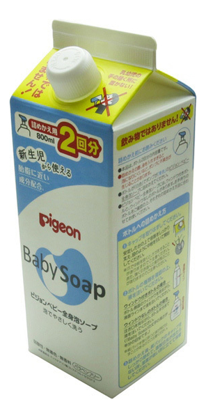 Купить Мыло-пенка для младенцев с рождения Baby Soap: Мыло 800мл (сменный блок), Pigeon