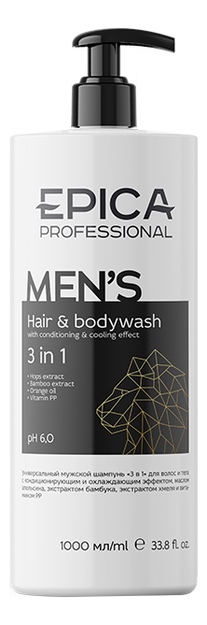 Купить Гель для душа 3 в 1 Men's Hair & Body Wash: Гель 1000мл, Гель для душа 3 в 1 Men's Hair & Body Wash, Epica Professional