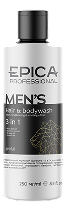 Гель для душа 3 в 1 Men's Hair & Body Wash: Гель 250мл, Гель для душа 3 в 1 Men's Hair & Body Wash, Epica Professional  - Купить