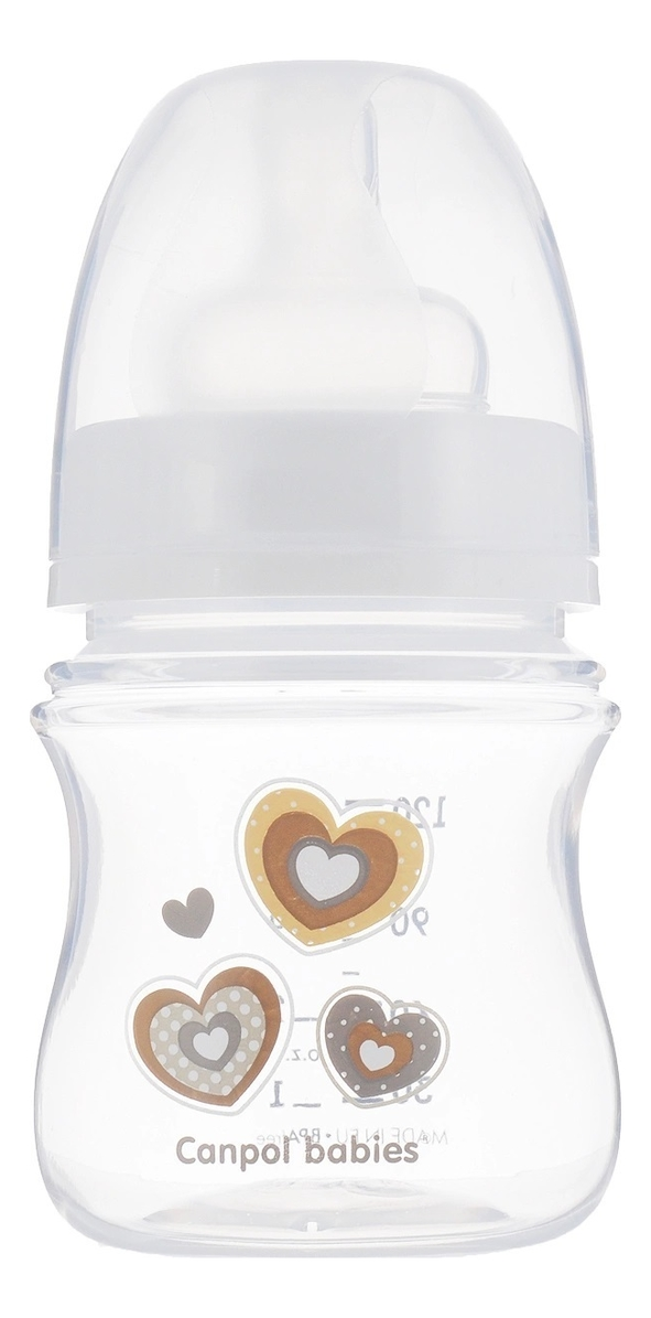 Бутылочка с широким горлышком антиколиковая PP EasyStart 0+ 120мл: Newborn Baby (белая)