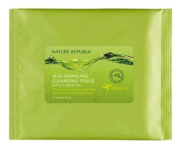 Салфетки для снятия макияжа Jeju Sparkling Cleansing Tissue: Салфетки 15шт очищающая вода для снятия макияжа jeju sparkling cleansing water 510мл