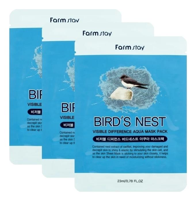 Тканевая маска для лица с экстрактом ласточкиного гнезда Visible Difference Bird's Nest Aqua Mask Pack 23мл: Маска 3шт тканевая маска для лица с экстрактом баобаба bergamo baobab aqua mask pack 28ml