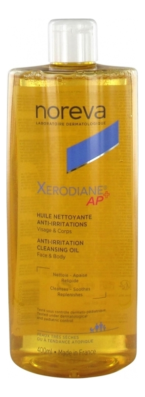 Купить Очищающее масло для лица и тела против раздражений Xerodiane AP+ Anti-Irritation Cleansing Oil 400мл, Noreva