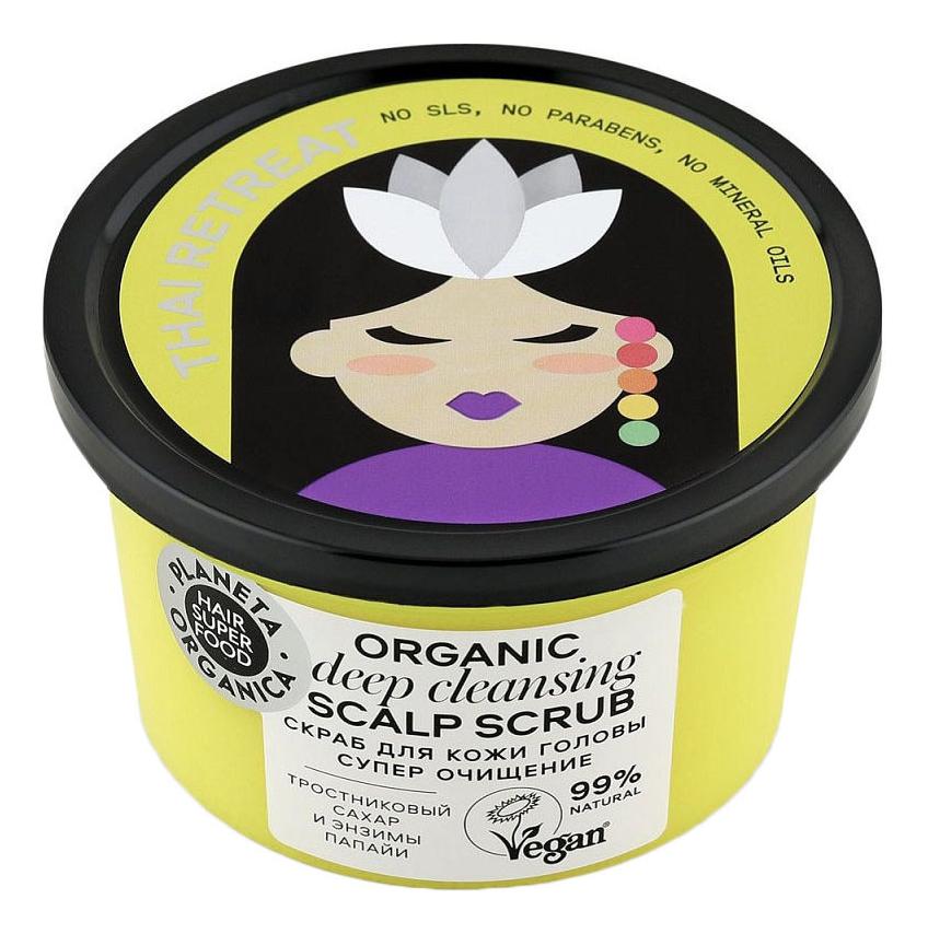 Купить Скраб для кожи головы Супер очищение Hair Super Food Organic Scalp Scrub Deep Cleansing 250г, Planeta Organica