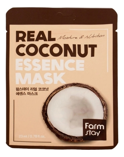 Купить Тканевая маска для лица с экстрактом кокоса Real Coconut Essence Mask 23мл: Маска 3шт, Farm Stay