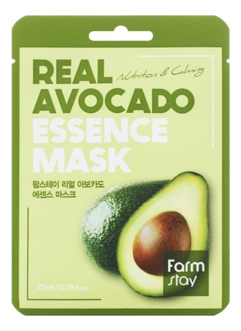 Купить Тканевая маска для лица с экстрактом авокадо Real Avocado Essence Mask 23мл: Маска 5шт, Farm Stay