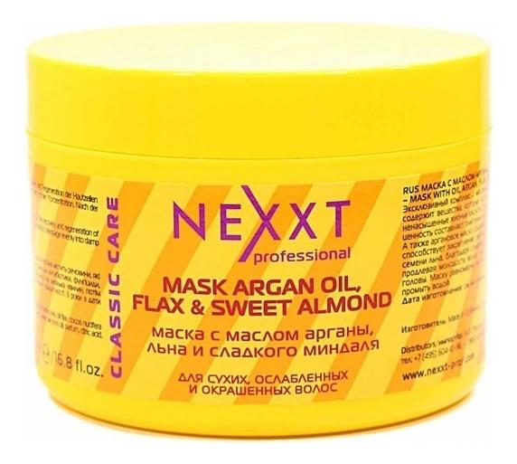 Купить Маска для волос с маслом арганы, льна и сладкого миндаля Mask With Oil Argan, Flax and Sweet Almond: Маска 500мл, NEXXT Professional
