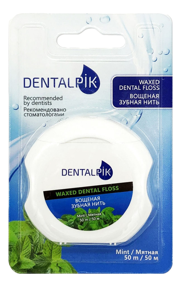 Мятная зубная нить вощеная Waxed Dental Floss Mint 50м рокс нить зубная флосс н тосс мятная вощеная 40шт