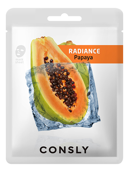 Купить Выравнивающая тон кожи тканевая маска для лица с экстрактом папайи Papaya Radiance Mask Pack 20мл: Маска 1шт, Consly