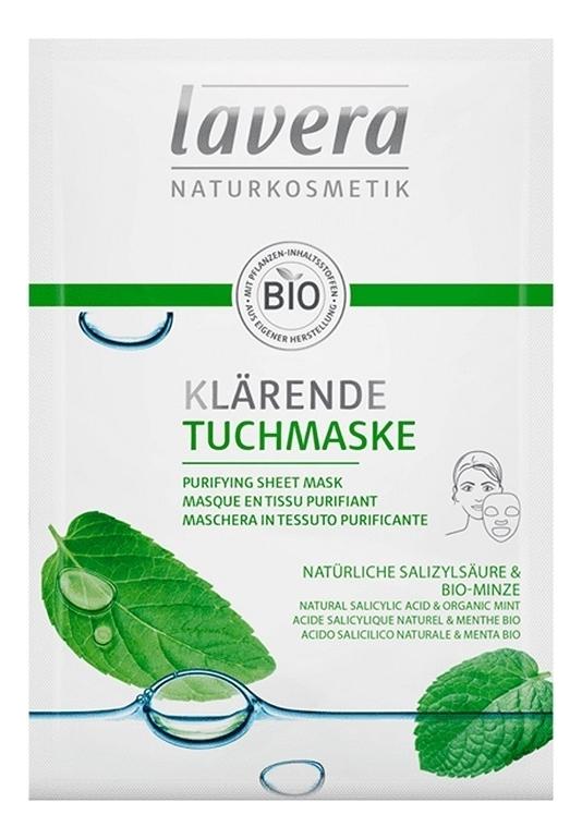Купить Тканевая био-маска для лица очищающая Purifying Sheet Mask 21мл, Lavera