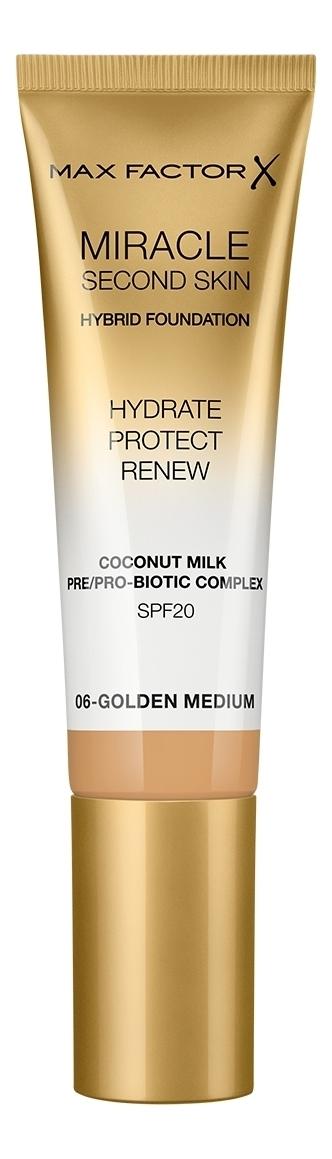 Купить Тональная основа с натуральным кокосовым молоком Miracle Second Skin SPF20 30мл: 06 Golden Medium, Max Factor
