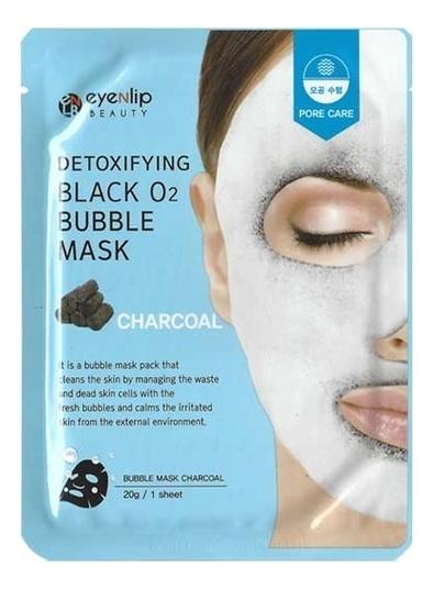 Купить Очищающая пузырьковая маска для лица с углем Detoxifying Black O2 Bubble Mask Charcoal 20г, Eyenlip