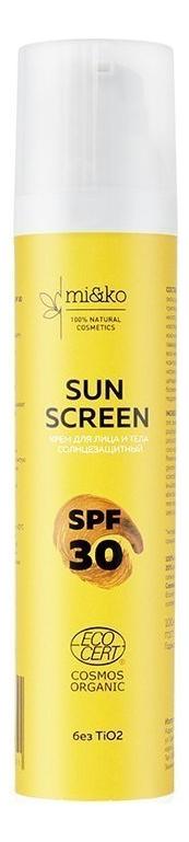 Купить Солнцезащитный крем для лица и тела Sun Screen SPF30: Крем 100мл, mi&ko
