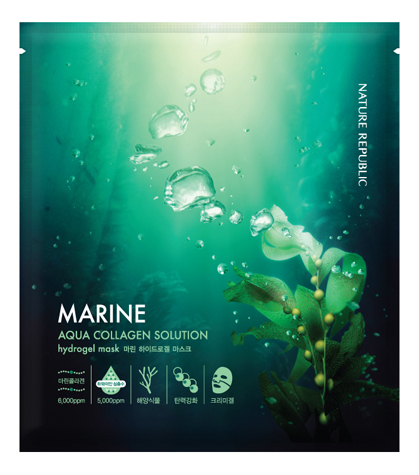 Гидрогелевая маска для лица с морским коллагеном Marine Aqua Collagen Solution Hydrogel Mask 25г the true rich cream aqua hydrogel mask a m f set
