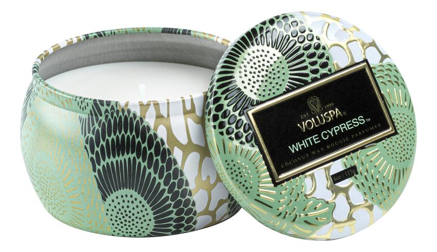 Купить Ароматическая свеча White Cypress (Белый Кипарис): свеча в декоративном подсвечнике 113г, VOLUSPA