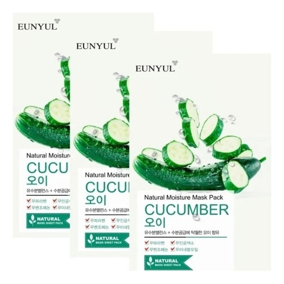 Фото - Тканевая маска для лица с экстрактом огурца Natural Moisture Mask Pack Cucumber: Маска 5*22мл освежающая тканевая маска для лица с экстрактом огурца mask line cucumber sheet 25мл