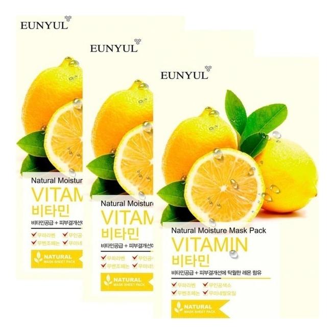 Фото - Тканевая маска для лица с витаминами Natural Moisture Mask Pack Vitamin 22мл: Маска 5шт увлажняющий тонер для лица с витаминами vitamin moisture toner 250мл