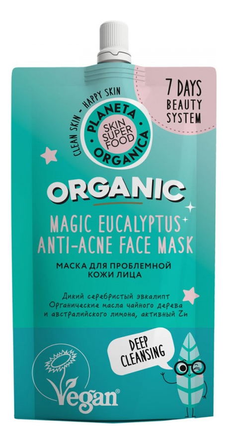 Маска для проблемной кожи лица Skin Super Food Magic Eucalyptus Anti-Acne Face Mask 100мл