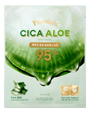Успокаивающая маска для лица с центеллой и алоэ Premium Cica Aloe Sheet Mask