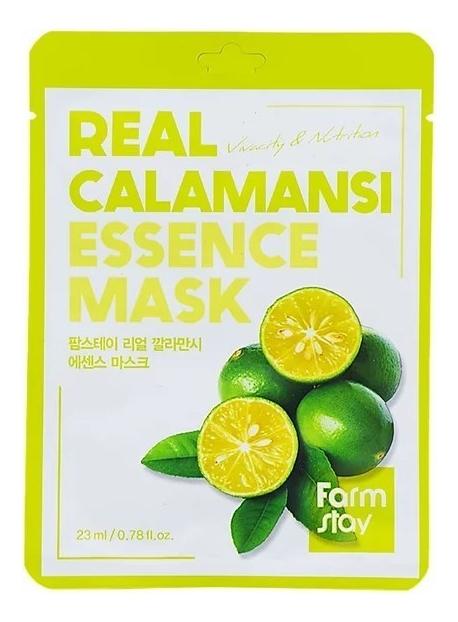 Купить Тканевая маска для лица с экстрактом каламанси Real Calamansi Essence Mask 23мл: Маска 5шт, Farm Stay