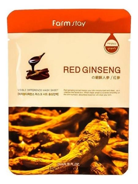 Фото - Тканевая маска для лица с экстрактом корня красного женьшеня Visible Difference Mask Sheet Red Ginseng 23мл: Маска 5шт маска на тканевой основе для лица с экстрактом красного женьшеня milatte fashiony ginseng mask sheet