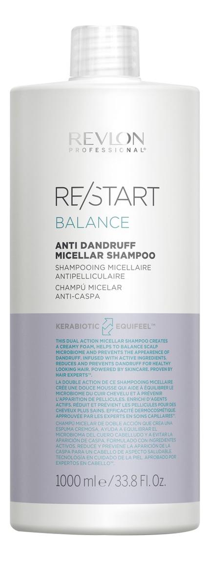 Купить Мицеллярный шампунь для кожи головы против перхоти и шелушений Restart Balance Anti-dandruff Micellar Shampoo: Шампунь 1000мл, Revlon Professional