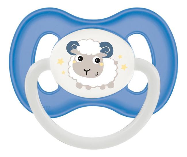 Купить Пустышка симметричная силиконовая 0-6мес Bunny & Company (голубая), Пустышка симметричная силиконовая 0-6мес Bunny & Company (голубая), Canpol Babies