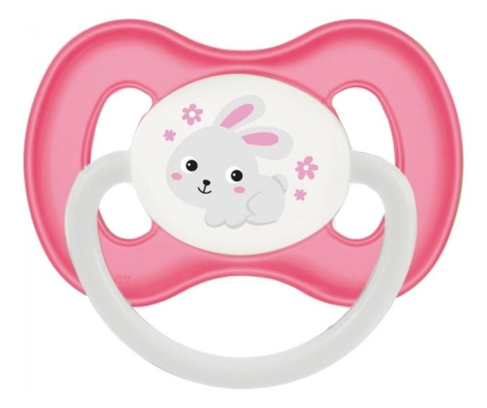 Купить Пустышка симметричная силиконовая 0-6мес Bunny & Company (розовая), Пустышка симметричная силиконовая 0-6мес Bunny & Company (розовая), Canpol Babies
