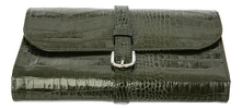 Truefitt & Hill Кожаная дорожная косметичка Military Roll Up Wet Pack Green Crocodile
