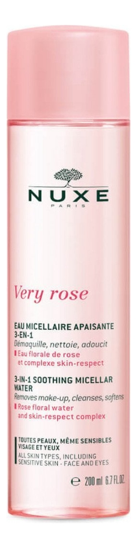 Смягчающая мицеллярная вода для лица и глаз 3 в 1 Very Rose Eau Micellaire Apaisante: Мицеллярная вода 200мл мицеллярная вода для снятия макияжа vinoclean eau micellaire demaquillant 200мл